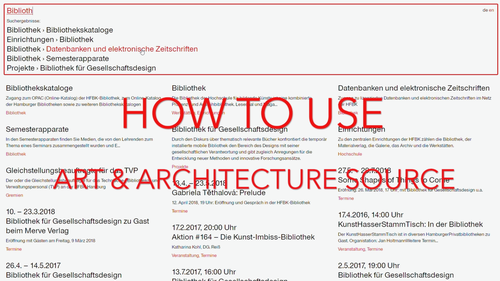 How to use Art & Architecture Source